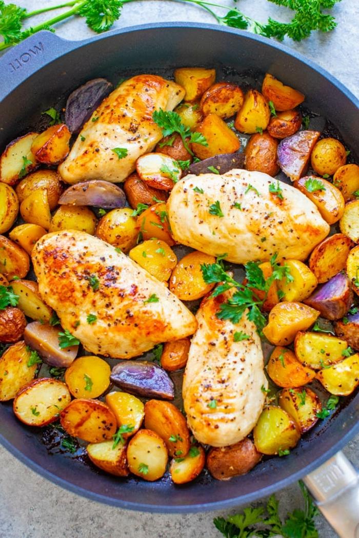 was soll ich kochen abednessen hänchenbrust mit kartoffeln und kräutern was esse ich heute