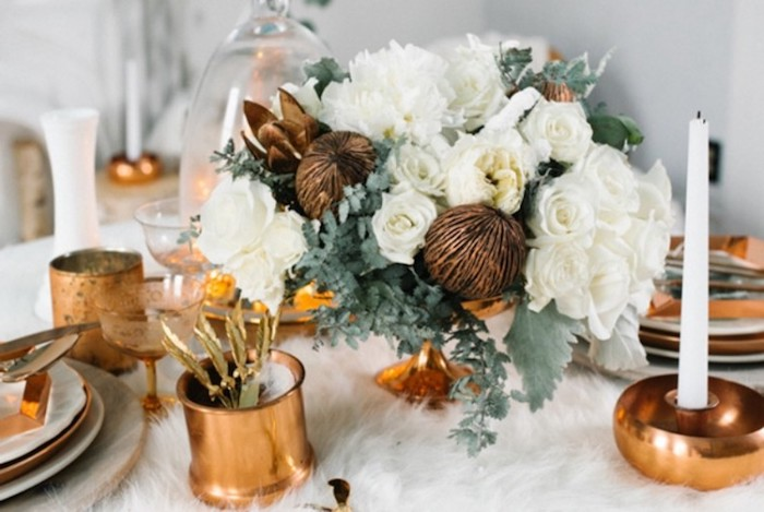 weiß und kupfer deko zur goldenen hochzeit allein orgab´nisieren und dekorieren