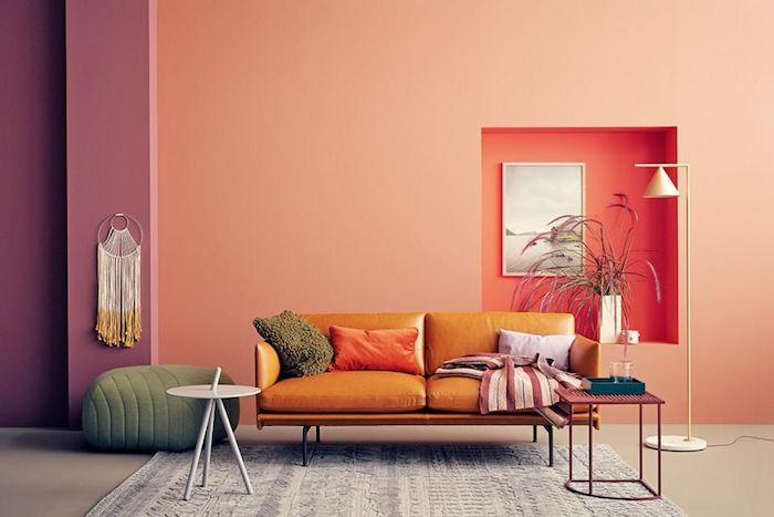 wohnzimmerwand ideen wandgestaltung terakotta nuancen kombinieren grün