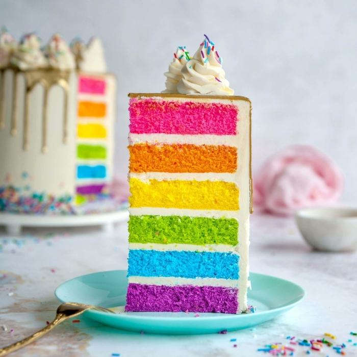 0 geburtstagstorte für mädchen regenobgenkuchen torte in den regenbogenfarben bunte kuchenboden creme