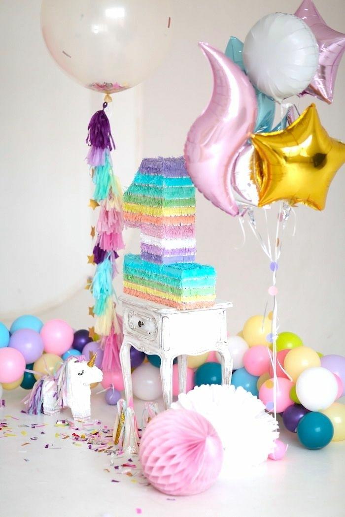 0 geburtstagstorte für mädchen torte zum erstan geburtstag regenbogenkuchen partydeko ideen kindergeburtstag