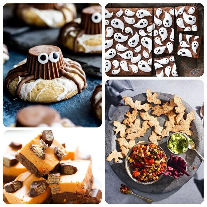 0 halloween rezepte für kinderparty tolle snacks partysnacks ideen partyideen kekse spinnen fudge mit schokolade crackes fledermäuse