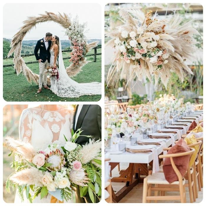 0 pampasgras deko hochzeit tischdeko idee hängende dekorationen aus getrockneten blumen blumenstrauß braut und bräutigam hochzeitsthema ideen