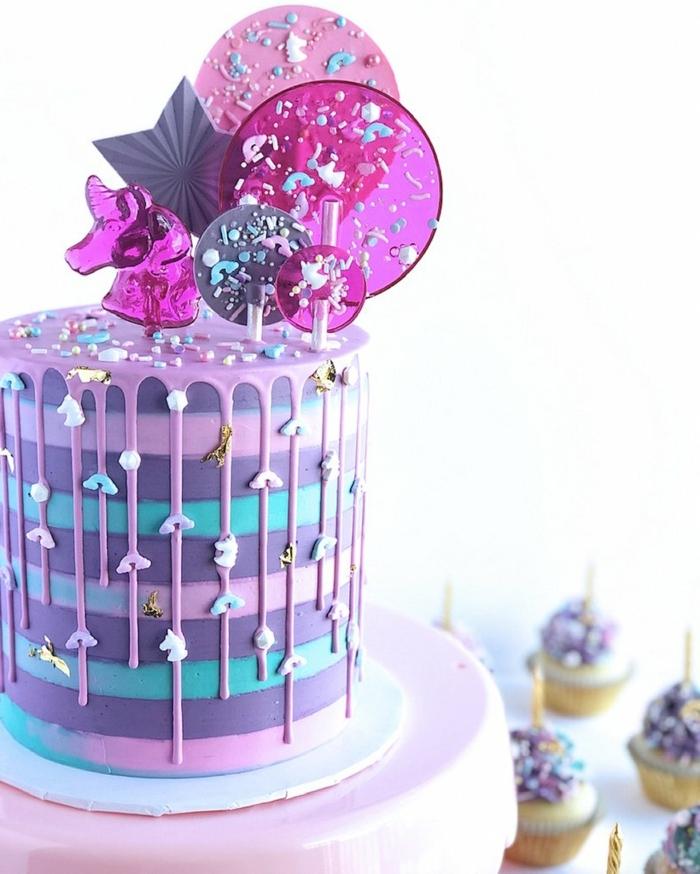 5 geburtstagstorte für mädchen 14 jährige mädchen prachtvolle tortendeko in blau lila und rosa tortentoppers aus zucker drip cake deko