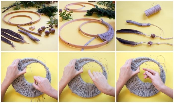 bastelideen kreativ traumfänger selber basteln schritt für schritt diy anleitung basteln mit federn hanf ring aus holz