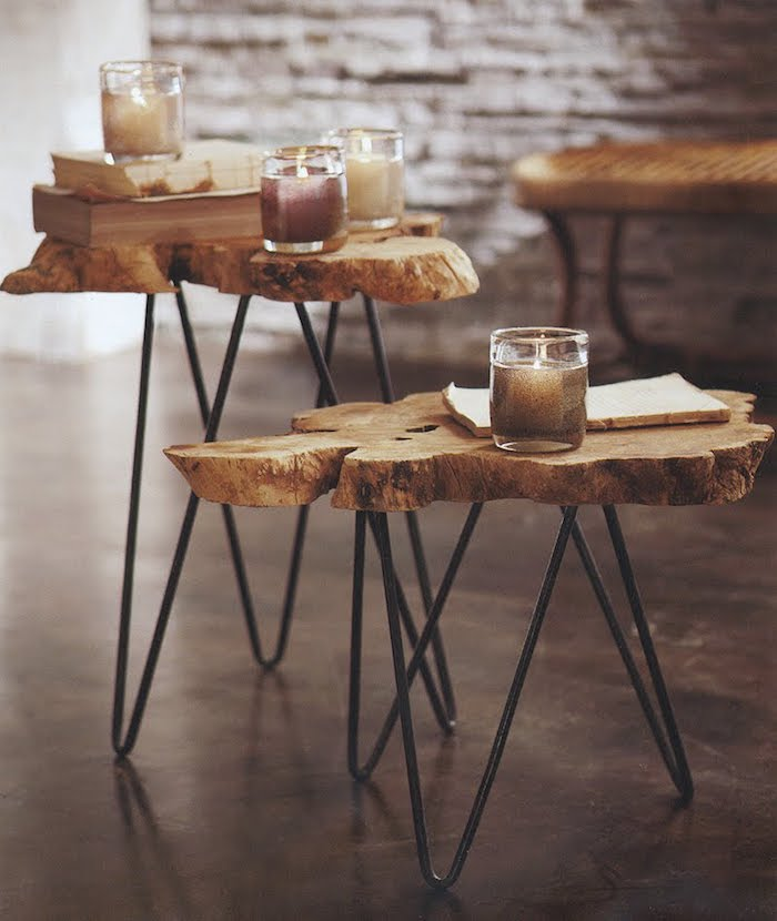 basteln mit baumscheiben für wohnzimmer idee kaffeetisch zwei mit metallbeinen
