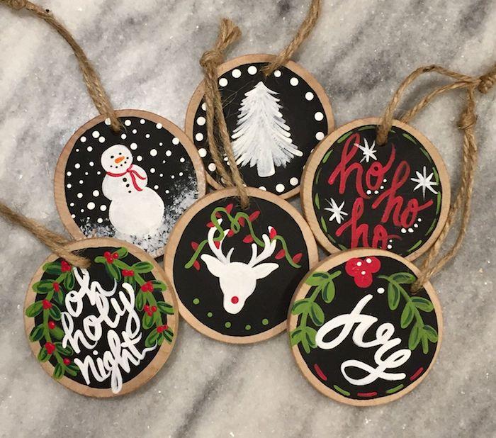 basteln mit holzscheiben kleine baumscheiben bemalen weihnachten deko bemalen