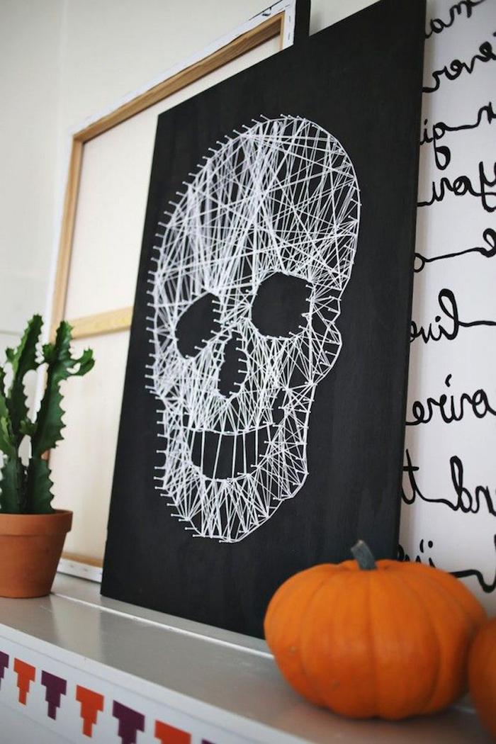 basteln mit kindern diy halloween deko selber machen schädel sticken