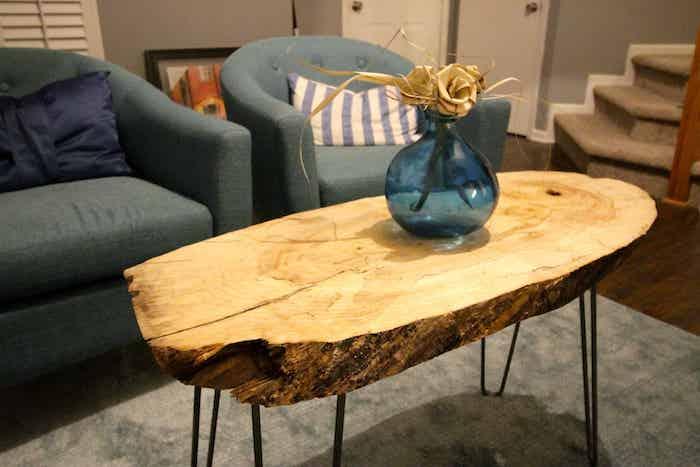 baumscheibe kaufen deko basteln holzscheiben deko wohnzommer tisch metallbeine glasvase sofas