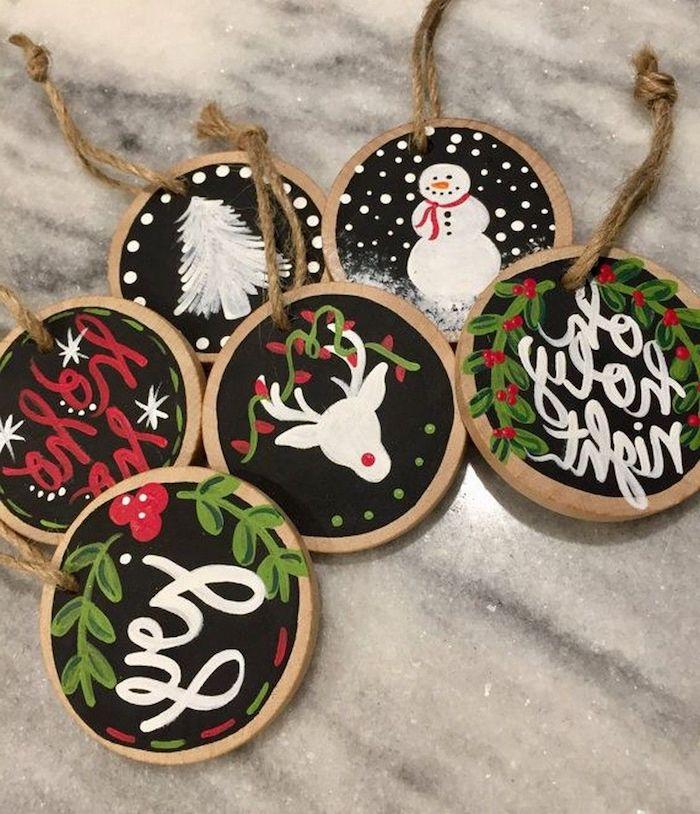 baumscheiben bemalen kleine holzscheiben zum weihnachten deko schneemann bäume