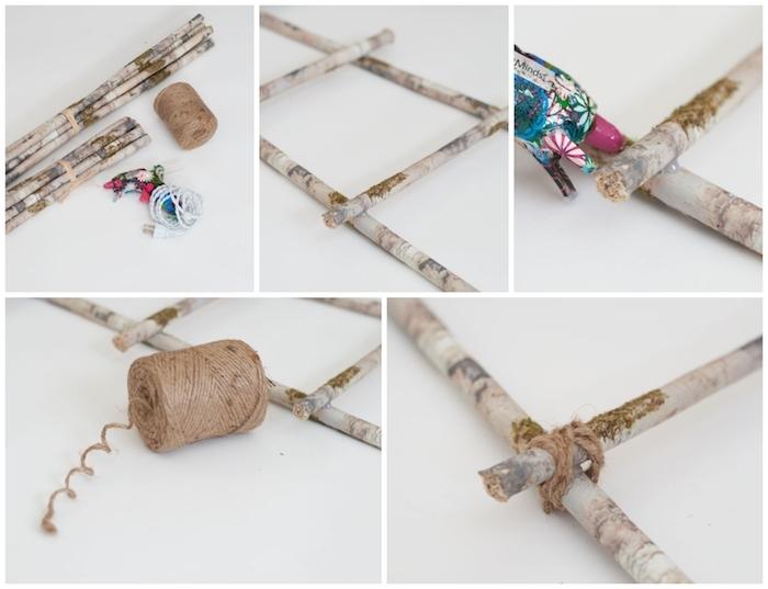 birken deko leiter aus birkenstamm selber machen diy anleitung schritt für schritt erklärung dekoration inspiration bastelbedar heißklebepistole schnur