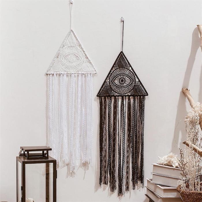 boho inneneinrichtung wohnung wohnzimmer schwarzen und weißen traumfänger selber basteln diy ideen böhmisch chic style