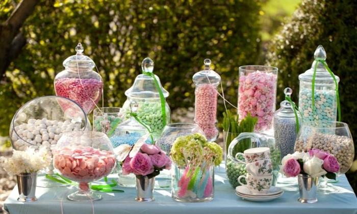 candy bar gläser süßigkeiten und bonbons candybar ideen leckereien in gläsern pastallfarben