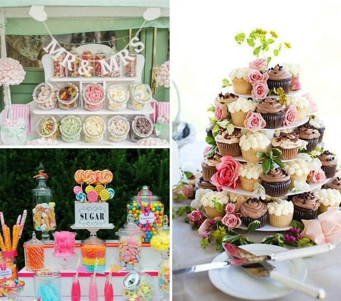 candy bar selber bauen turm aus cupcakes hochzeitmuffins hochzeitsdeko für den tisch
