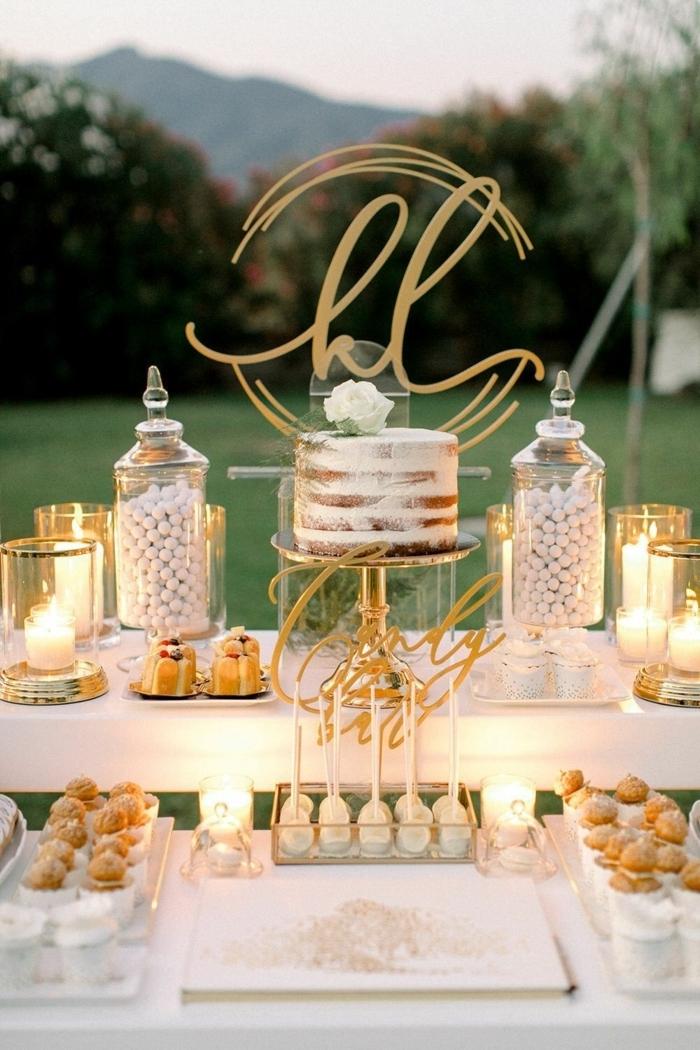 candy bar zubehör hochzeit ideen tischdeko in boho stil nacked cake candy bar selber machen