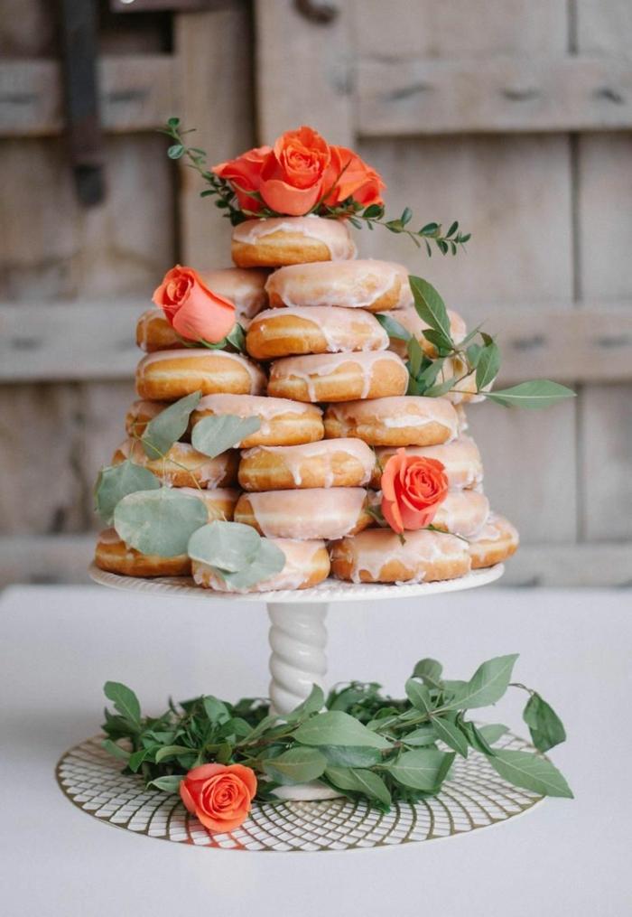 candybar ideen krapfen mit zuckerglasur hochzeitsessen tischdeko hochzeitsideen leckereien für die hochzeitsgäste