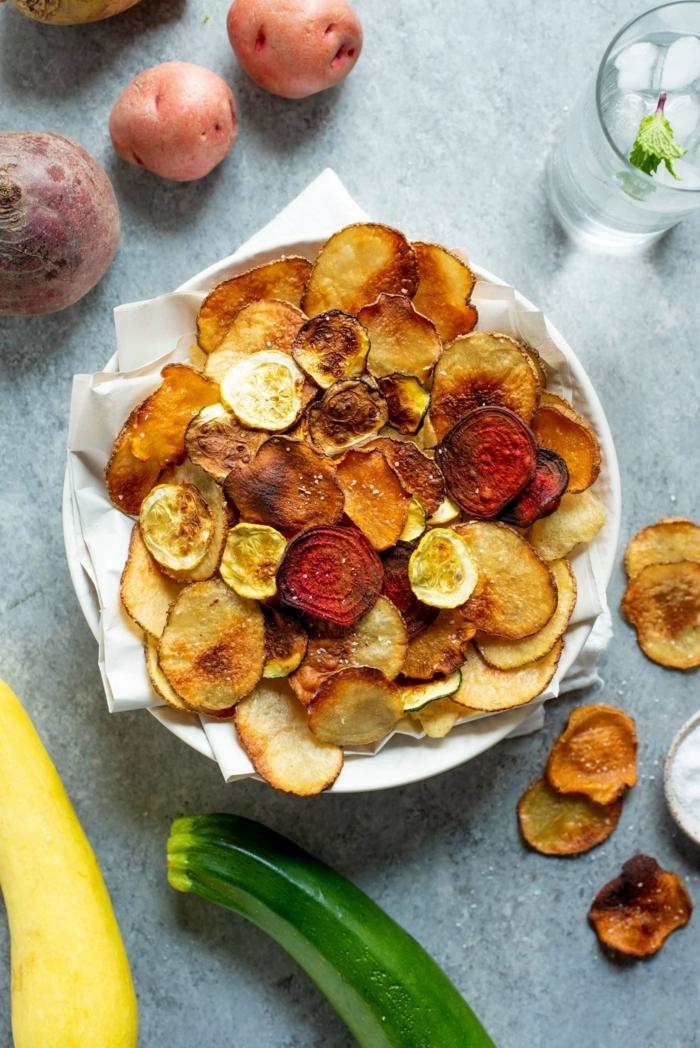 chips selber machen backofen aus zucchini roter beete und kartoffeln low carb gesund