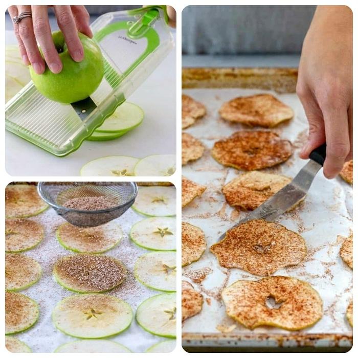 chips selber machen backofen gesunde apfelchips mit braunem zucker und zimt schritt für schritt