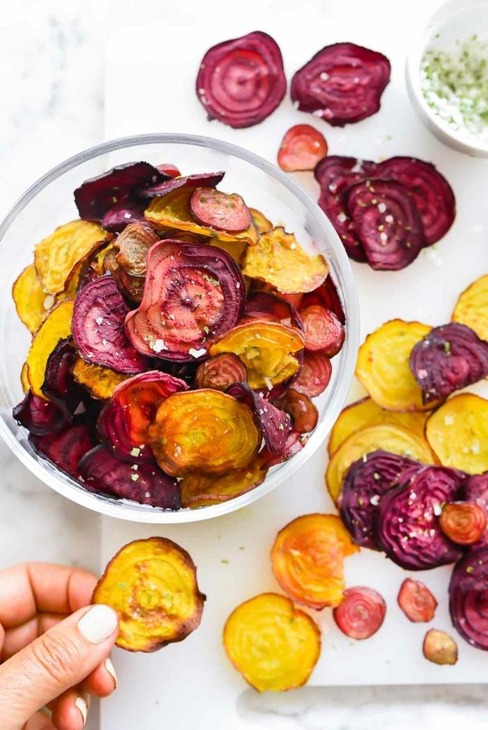 chips selber machen backofen gesundes parytessen leckere gemüsechips low carb rezepte mit roter beete