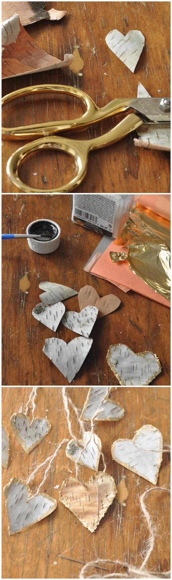 collage diy einleitungen holzstamm deko selber machen schritt für schritt erklärung kreative bastelideen herzen aus birkenholz in gold und silber