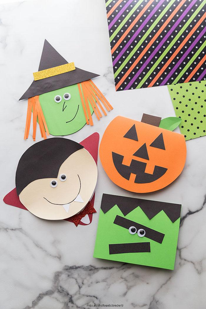 diy basteln gruselig grüßkarten selber machen mit kindern halloween