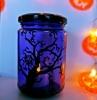 diy halloween basteln deko mit kindern kerzen glas spinne