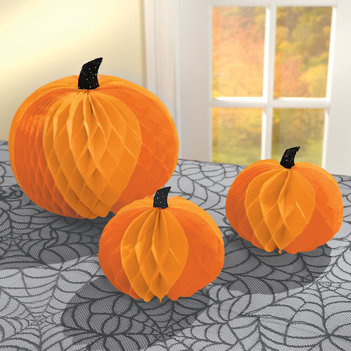 diy halloween deko kinder für draußen kürbis seidenpapier basteln