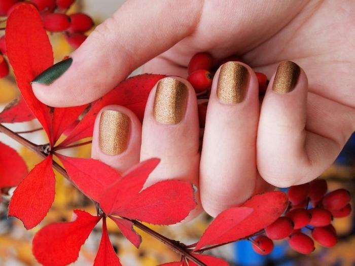 eine hand einer frau nageldesign herbst ein goldener nagellack herbst ein ast mit kleinen roten blättern