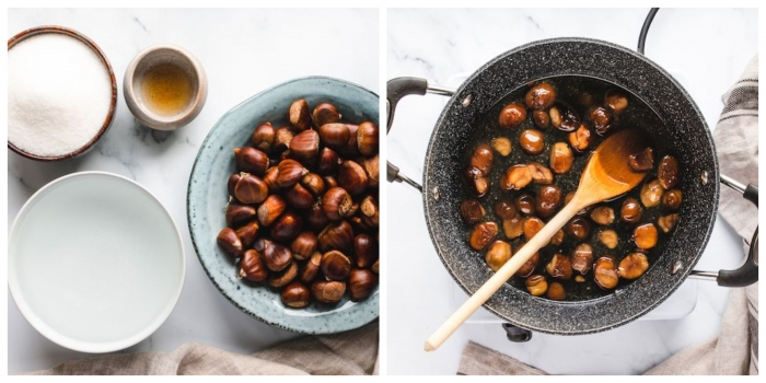 esskastanien kaufen zubereiten marron glace kastanien mit zucker und wasser kochen