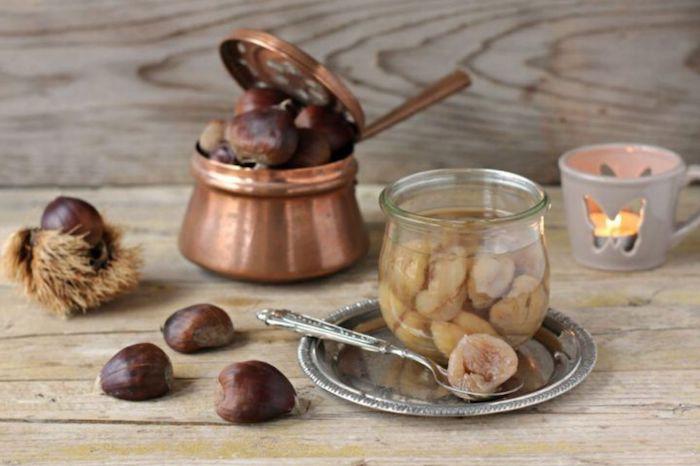 esskastanien rezepte maronen im sirup zubereiten marron glacé in glas kerze