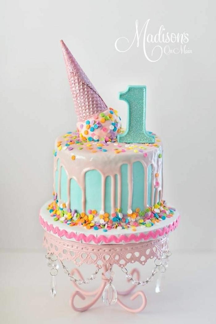 geburtstagstorte für 1 jähruges mädchen torte zum geburtstag drip cake rosa creme eiscremetorte