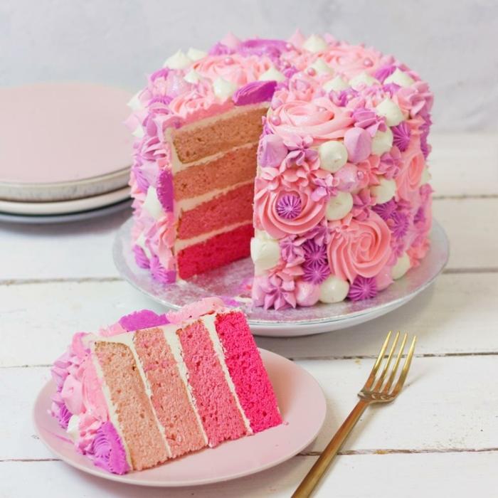 geburtstagstorte für mädchen 14 jährige mädchen ombre torte geburtstagskuchen in rosa und weiß einfache tortendeko