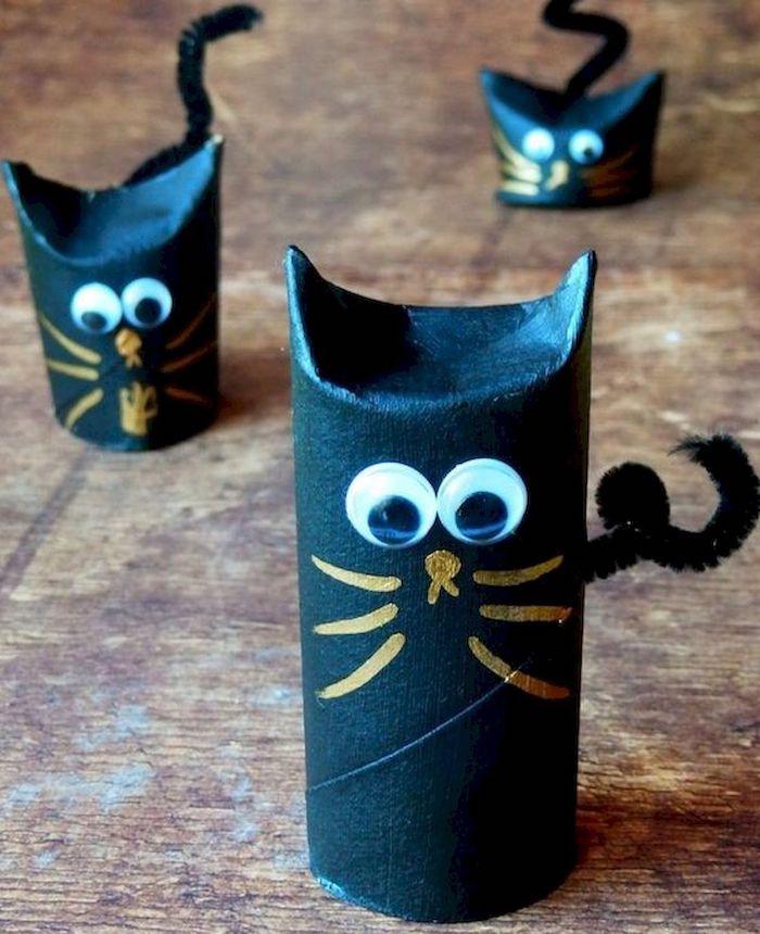 gespenster basteln aus klopapierrolle katzen selber machen halloween schwarz