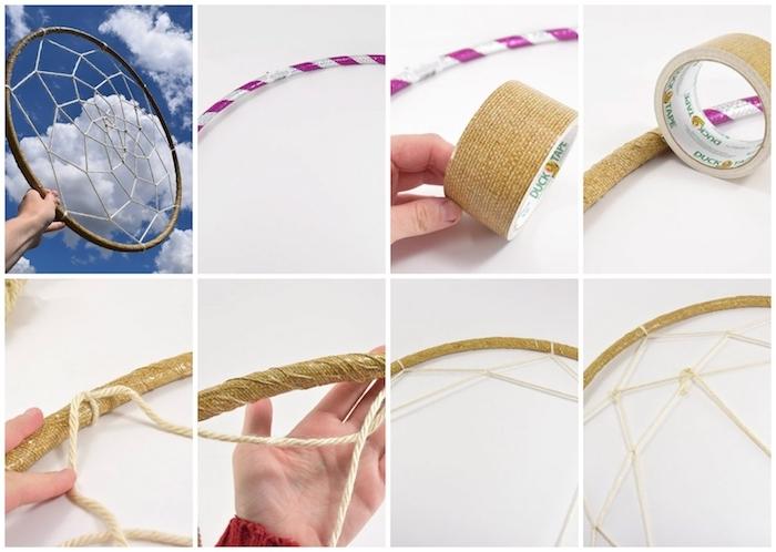 großer traumfänger diy anleitung schritt für schritt tutorial basteln mit reifen dekoideen kreativ coole bastelideen zum selber machen person bastelt makramee
