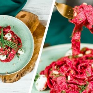 halloween essen ideen pasta rezept einfach und schnell soße mit roter bete mini mozzarella frischekräuter
