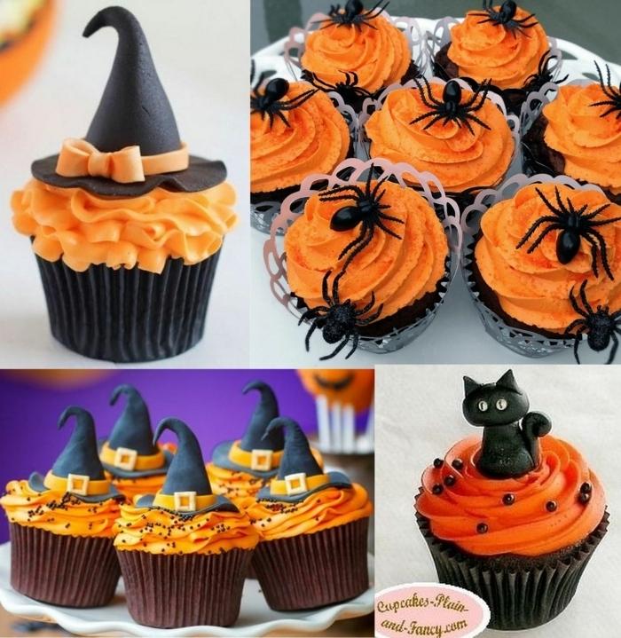 halloween party essen ccakes dekorieren deko mit orangenfarbene buttercreme schokomuffins rezept
