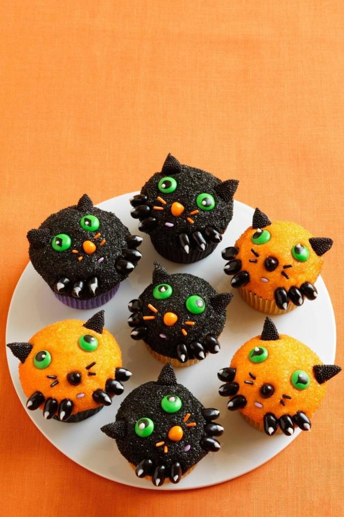 halloween rezepte kinder cupcakes katzen kürbismuffins kürbiscupcakes selber machen