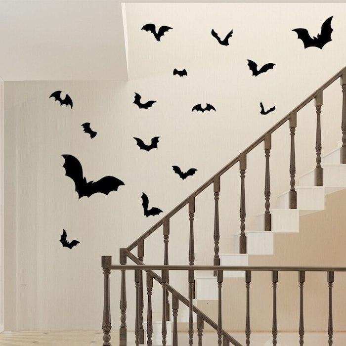 halloween selber machen deko kinder für innen bats schneiden