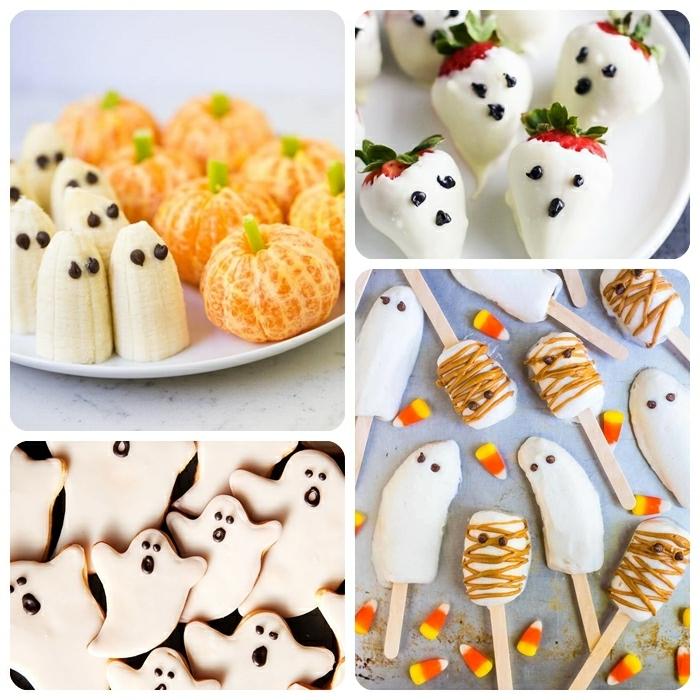 halloween snacks fingerfood gesunde snacks bananen mit schokolade geiste selber machen einfache zubereitung