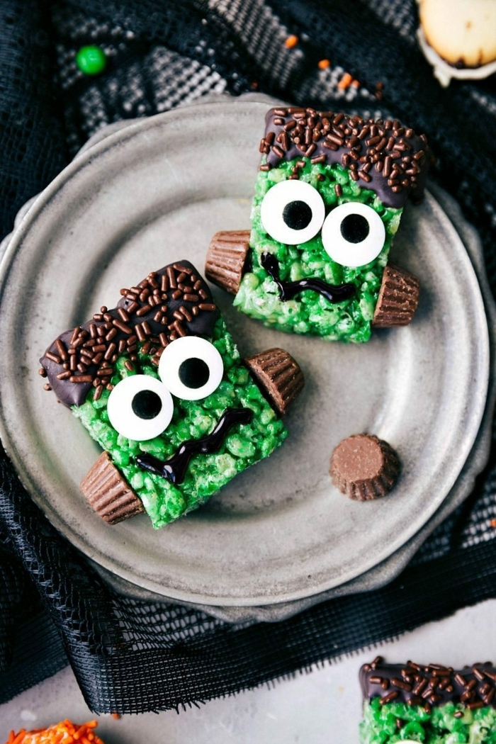 halloween snacks ideen ungehäuer aus schokolade kinderessen partyrezepte zombies mit großen augen