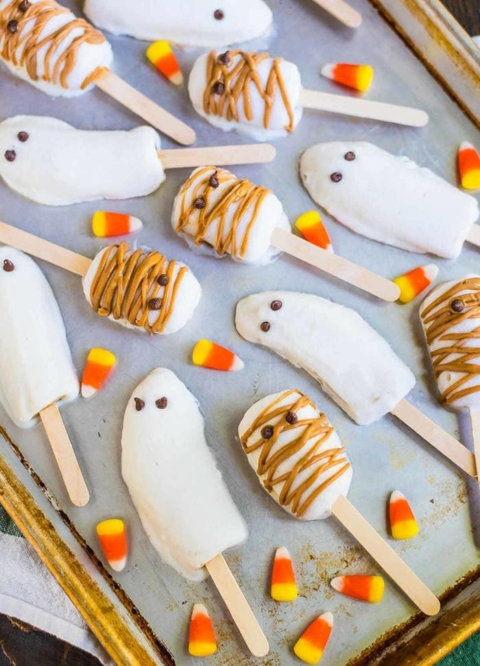 halloween snacks kinder bananen mit weißer schokolade geiste mumien kindersnacks kinderessen