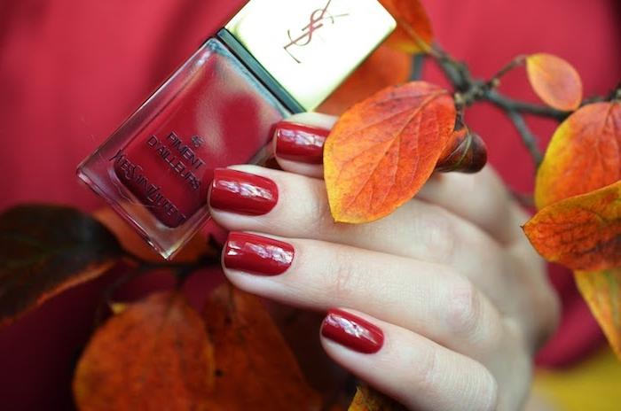 hand einer frau mit nagellack mit rotnuancen ein ast mit orangen und gelben blätter im herbst nagellack