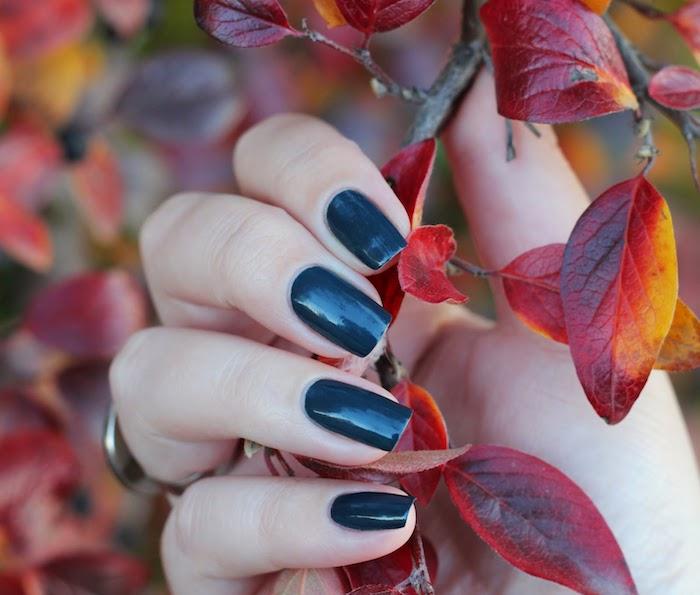 hand mit einem ring und mit einem dunkelblauen nagellack ein ast mit roten blättern nageldesign herbst