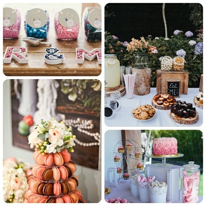 hochzeit candy bar hochzeitsdeko tisch hochezitsfood ideen turm aus macarons rosa und blaue bonbons torte im ombre look