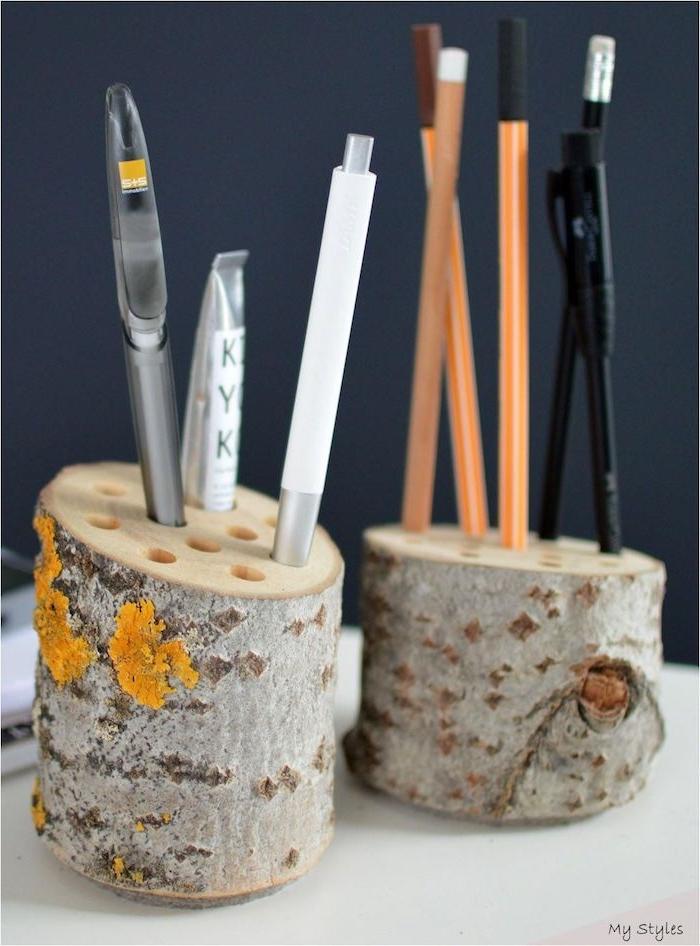 holzstamm deko ideen stiftehalter aus birkenholz originelle diy projekte upcycling ideen bastelideen für erwachsene