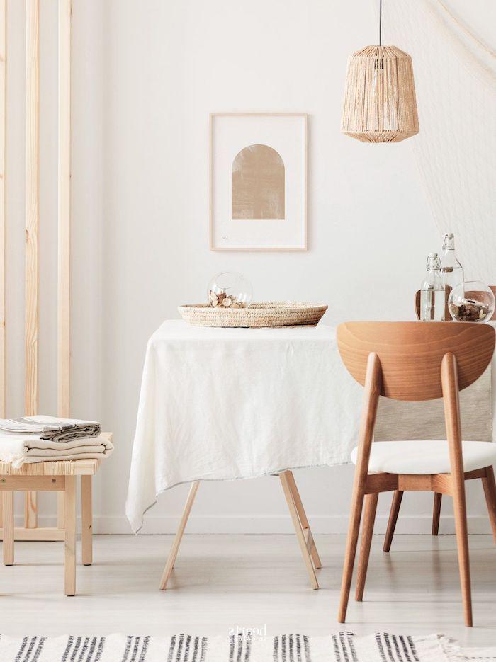 holztöne skandinavische einrichtung küche inspiration stühle und tisch aus holz minimalistische ausstattung ideen