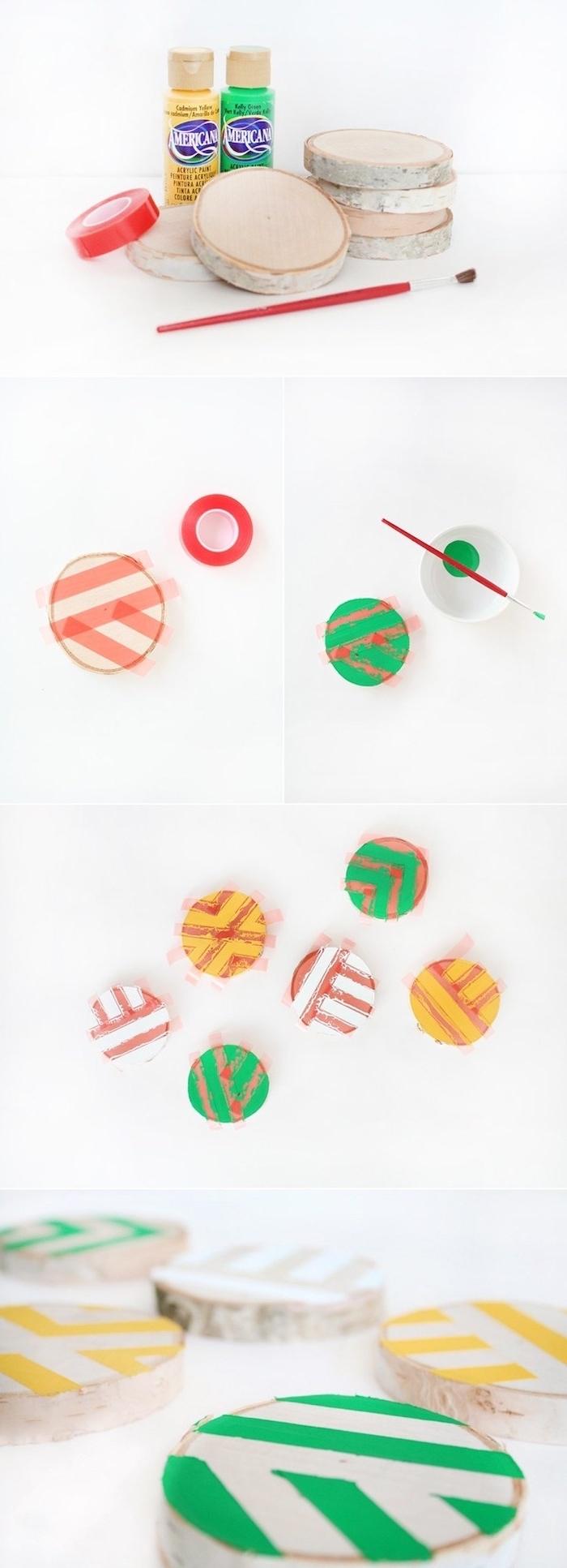 holzuntersetzer dekoriert mit bunten farben geometrische linien diy anleitung schritt für shritt dekoration ideen inspiration birkenstamm deko inspo figuren aus holz