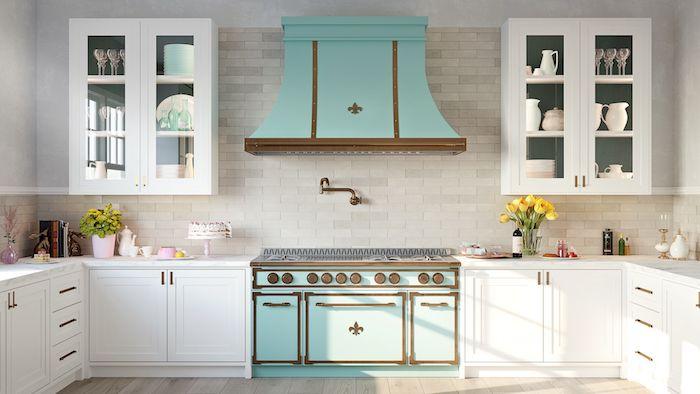 ikea küche inspiration 2021 weiß holz mit schränke in minzgrün stein wand