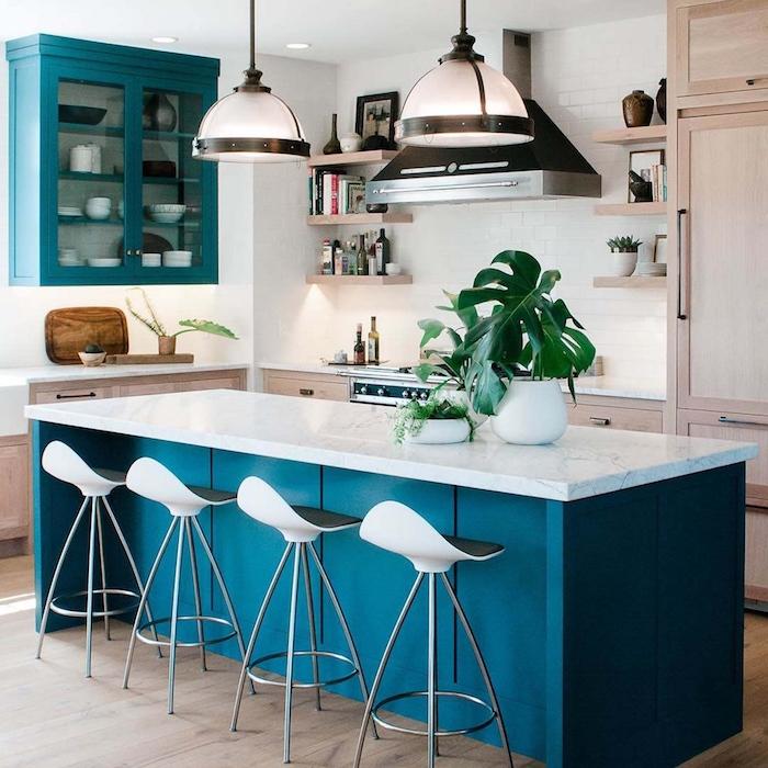 ikea küchenzeile küche weiß und blau kochinsel inspiration