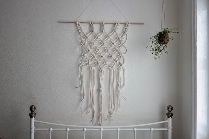 inneneinrichtung schlafzimmer dekoration hängende pflanze Makramee Traumfänger diy schritt für schritt anleitung